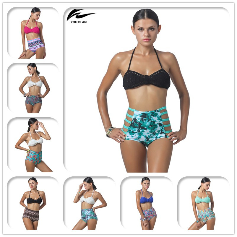 все цены на High Waist Bikini Set Vintage 2017 New Handmade Crochet Bikinis Swimsuit Sexy Bandage Push Up Swimwear Women Bathing Suit онлайн