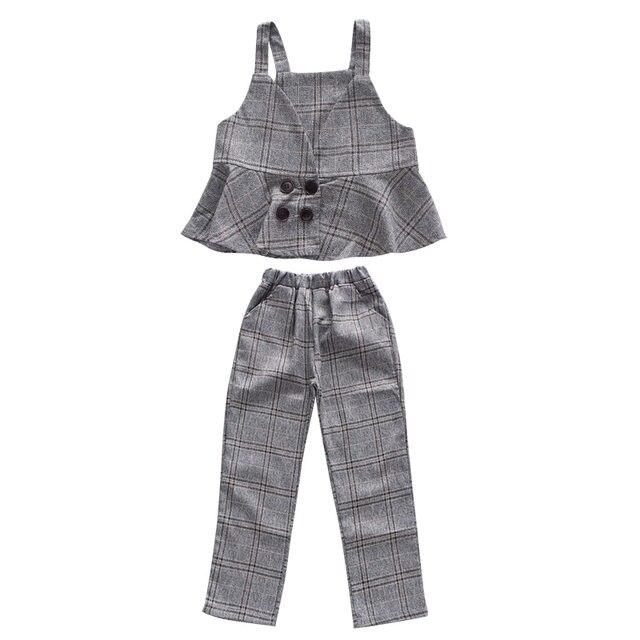 Tienda Online Ropa de niñas conjuntos de algodón chaleco a cuadros + ...