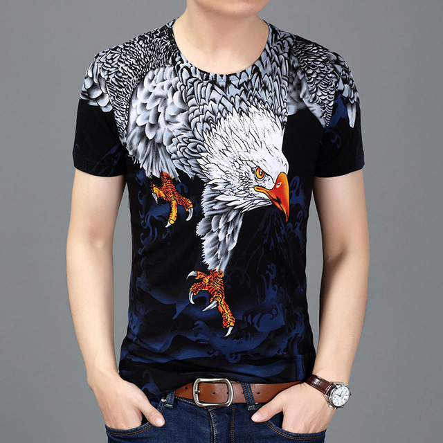 絶妙なビッグイーグルパターン 3d プリントおかしい半袖 tシャツ夏 2019 ニュートップ品質の綿ストリート t シャツ男性 M-3XL