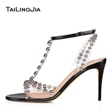 Latest Open Toe High Heel Clear Sandals with Studs T Strap Heeled PVC Transparent Shoes Ladies Summer Party Heels Plus Size 2019 недорого