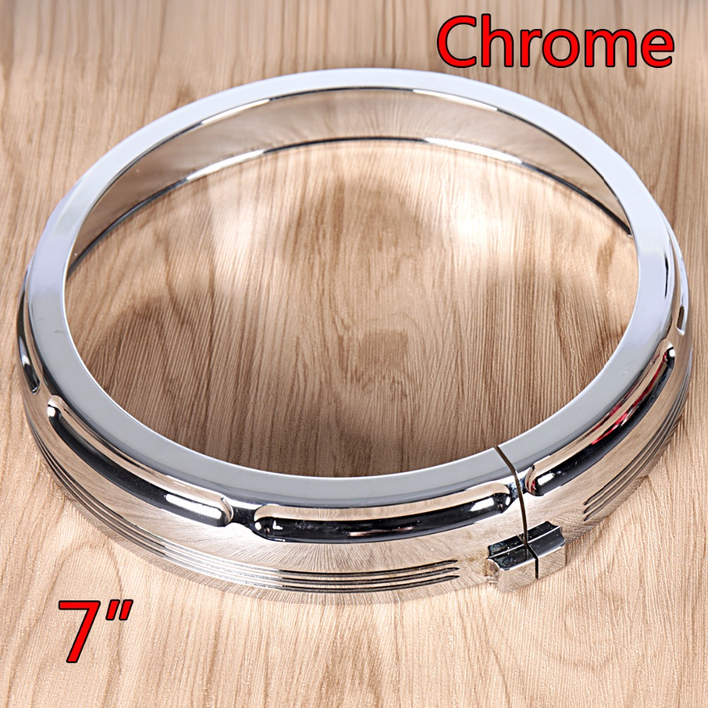 7 inch Chrome Burst Headlamp Trim Ring For Harley Touring Electra Street Glide Road King Trikes 1996-2018 Models chrome tri line gauge trim for harley touring electra street glide