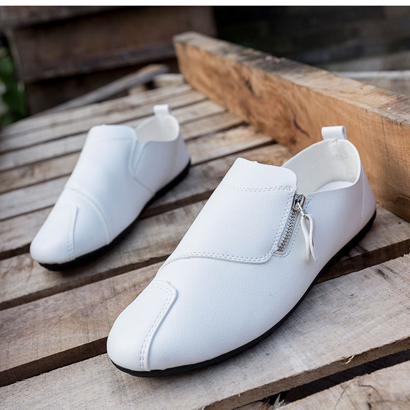 New Style Men Shoes Simple Style Zipper Decoration  Soft Skin Casual Shoes For Male