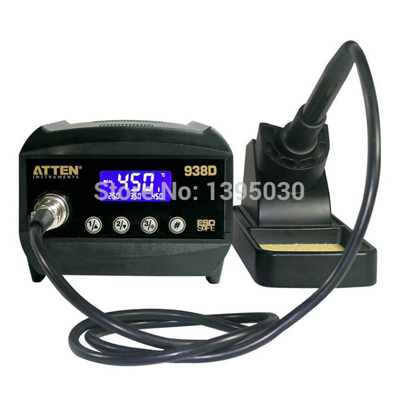 1PC 220V Atten AT938D ESD 60W Digital Welding Desoldering Solder Station Solder Iron LCD Display Thermo-Control Anti-Static dhl free shipping atten at938d 60w 150 c 450 c soldering station solder iron big led screen
