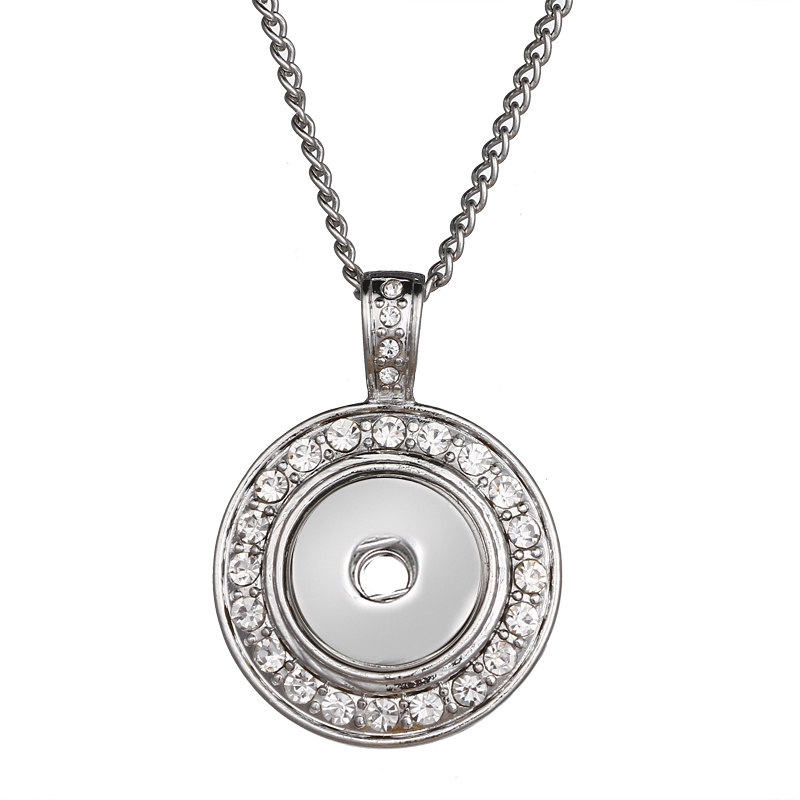 New Snap Jewelry Round Crystal 12mm Snap Button Necklace Pendant Mini Snap Pendant Necklace Choker image