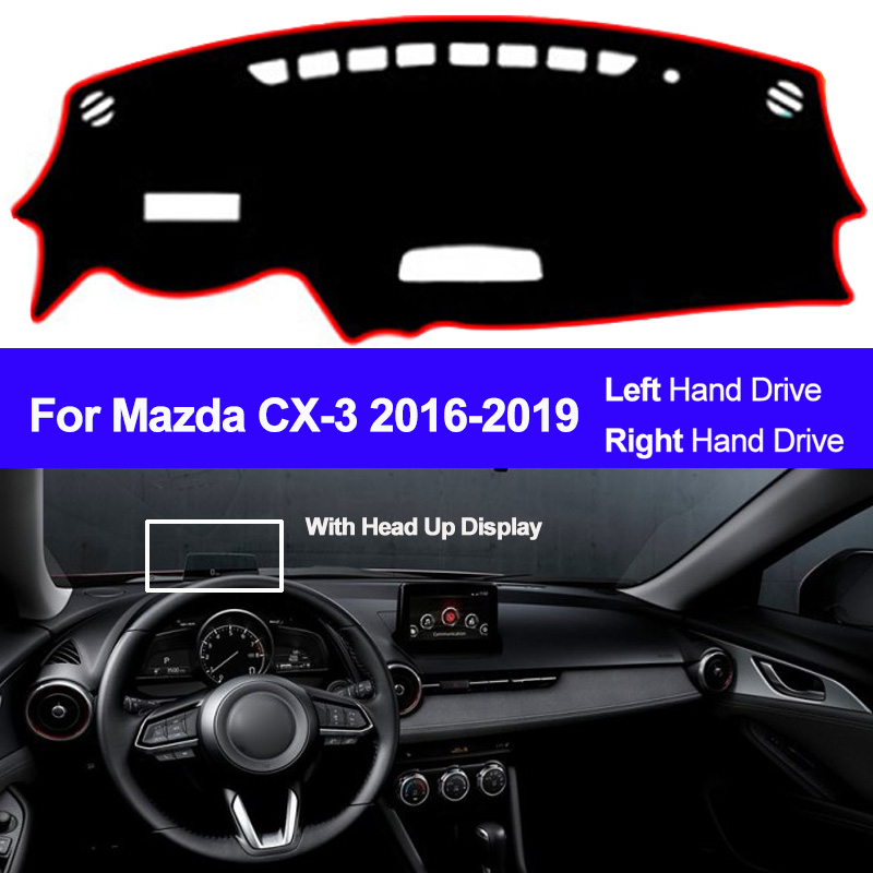 2 Layers Car Inner Dashboard Cover For Mazda CX-3 CX3 2016 2017 2018 2019 Dashmat Pad Carpet Dash Mat Sun Shade Pad Car Styling