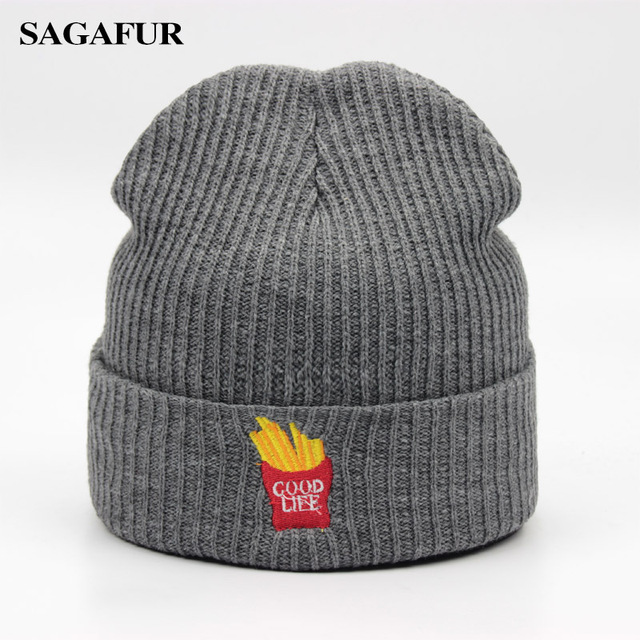 aee8a066424d Acrylic Skullies Beanies For Men Winter Women's Cap Boy Quality Embroidery  French Fries Knitted Hat Female Soft Fashion Bonnet