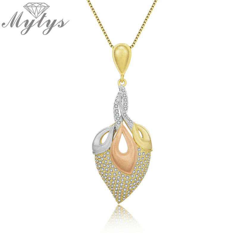 Mytys Pave Setting Zircon Pendant Necklace for Women High Level Three Tone Gold Sandblasting Frosted Brass Tricolor Jewel CN421