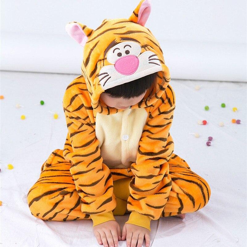 Cartoon Animal Onesie kostýmy Tiger kostýmy pro děti, děti Pajamas Jumpsuit Hoodies Sleepwear (Pantofle není součástí dodávky)
