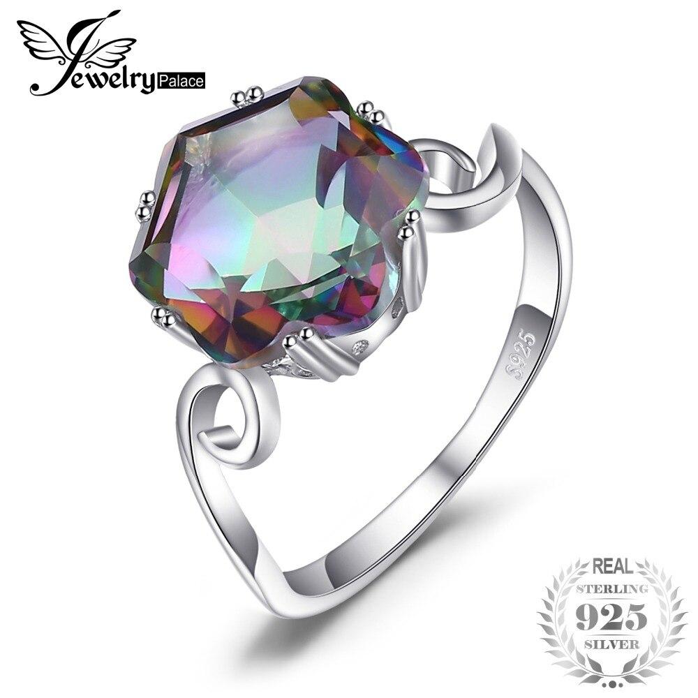 JewelryPalace 3.2ct Echte Natürliche Regenbogen Feuer Mystic Topaz Solid 925 Sterling Silber Ring Für Frauen 2018 Mode Edlen Schmuck