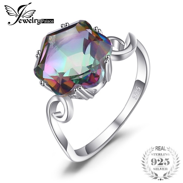 JewelryPalace 3.2ct Genuine Natural Rainbow Fire Mystic Topaz Solid 925 Sterling