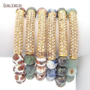 Dezi Agates Pyrites African Turquoises Stone Beads Stretch Bracelet Gold Metal Bar Bracelet BM20442