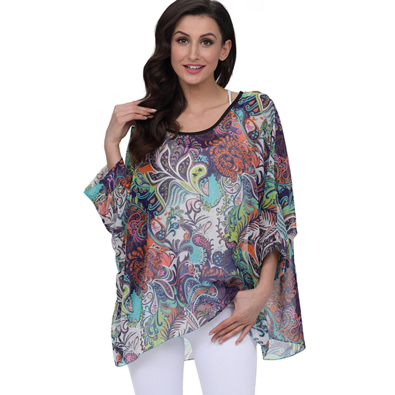 Summer Tops for Women 2018 Floral Print Boho Chiffon   Blouses   Cover-ups Casual Loose Batwing Sleeve Summer   Blouse     Shirt   Plus Size