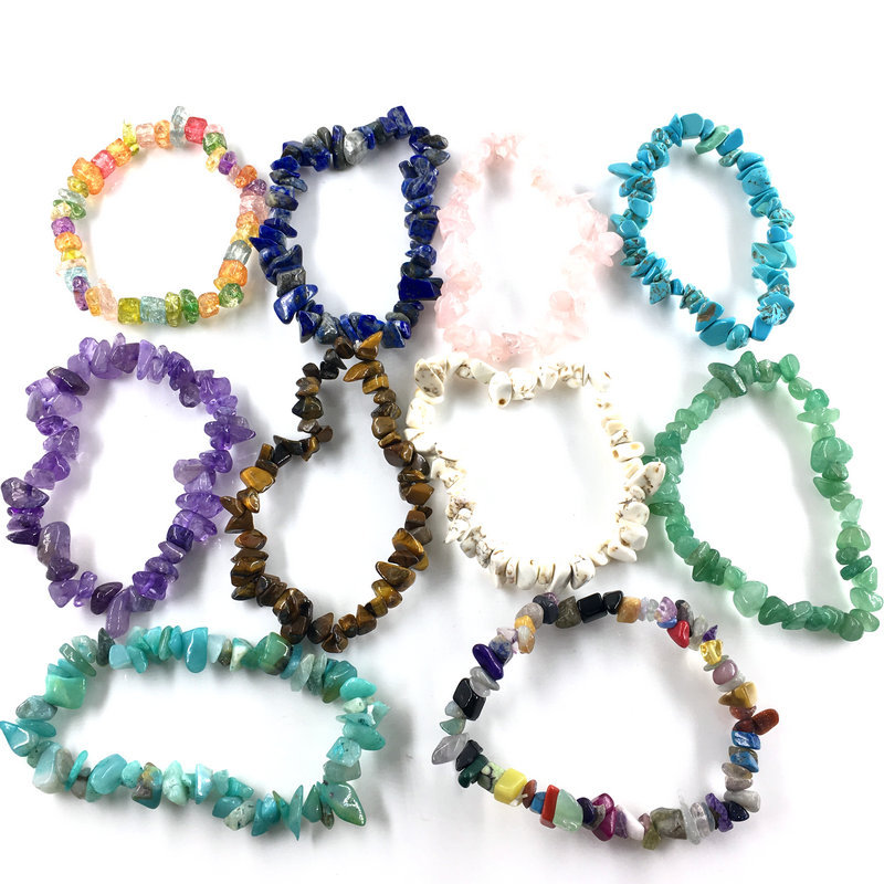 Natural Stone Crystal Bracelet Simple Strand Elastic Bracelets