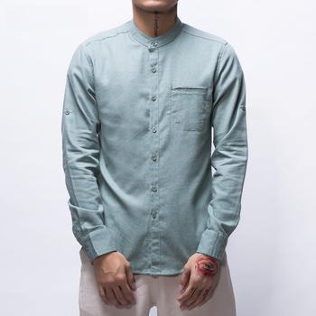 Cotton Linen Shirts Men Full Sleeve Stand Collar Slim Fit Casual Cotton Shirts Chinese Mandarin Collar Casual Shirt Man TS-204 фото