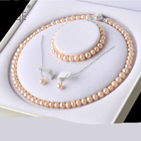Colorful Pearl Jewelry Set Three piece Female Gold Freshwater Pearl Bracelet Clavicle Chain Earrings