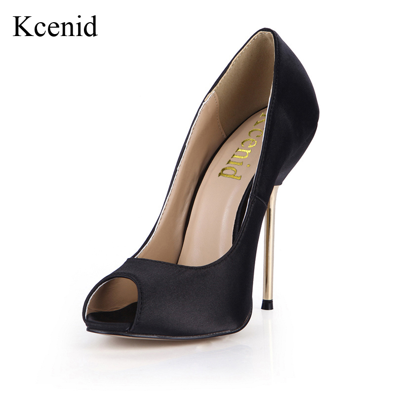 Kcenid Big size 35 43 sexy metal stiletto shoes woman fashion peep toe 10 7cm 12