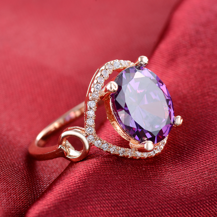 Kinel Fashion Vintage Big Purple Zircon Ring Round Rose Gold Wedding ...