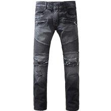 Mens Fashion Black Hole Ripped Balm Biker Jeans Casual Slim Fit Vintage Stretch Denim Straight Pants Men Designer Skinny Jeans
