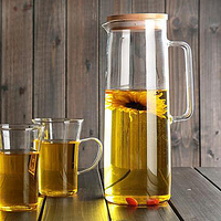 Heatproof Glass Carafe with Stainless Steel or Bamboo or Glass Lid Hot or Iced Water Pitcher Fruit Flower Tea Water Bottle SH23
