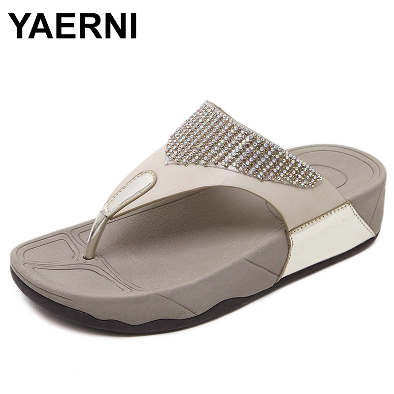 YAERNI  Summer Women shoes Fashion soft Women's slippers diamond non-slip comfortable Plus Size Woman slippers Female sandals thumbnail