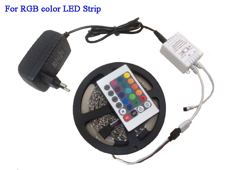 3528 5050 RGB led strip Cold white Warm white blue red green yellow with remote control and power adapter (5)