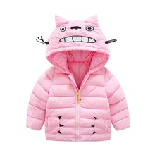 2017 New Brand Korean Cute Cat Cotton-padded Clothes Baby Girls/Boys Hooded Zipper Cartoon Down/Parkas Kids Jacket/Outerwear Top