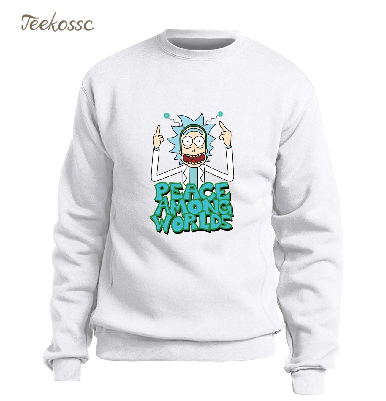 Peace Among Worlds Rick and Morty Sweatshirt Men White Hoodie Funny Sweatshirts Mens 2018 Winter Autumn Fleece Warm Streetwear