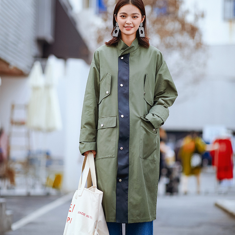 High Street Army Green Patchwork Design Women Long   Trench   Spring Bandage Coat 2019 New Arrival Oversized Women Overcoat Tide