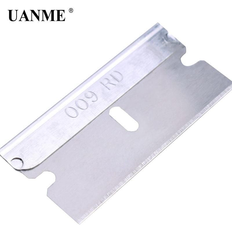 UANME 100 Blades/Box Imported Metal Razor Blades 1PC 39mm*19mm Cleaning Scraper Tools Vinyl Film Window Tint Glue Remove Tool