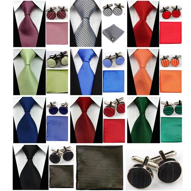 revisa 2955c 18657 € 3.21 50% de DESCUENTO|Accesorios para hombre Solid Striped Slim Business  Silk Tie Sets Hanky pañuelo gemelos corbatas para hombres Gravatas 3