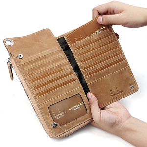Image 5 - High Quality Men s zipper wallet cowhide phone wallets multi functional hand bag cow leather purse A375