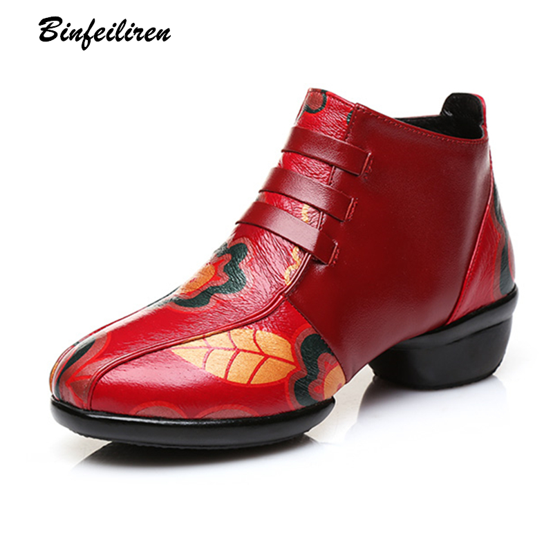 Binfeiliren Women Leather Boots For Dance Style Flower Ankle Boots Retro Handmade Women Low Heel  Shoes Comfortable 2018 Spring serene handmade winter warm socks boots fashion british style leather retro tooling ankle men shoes size38 44 snow male footwear