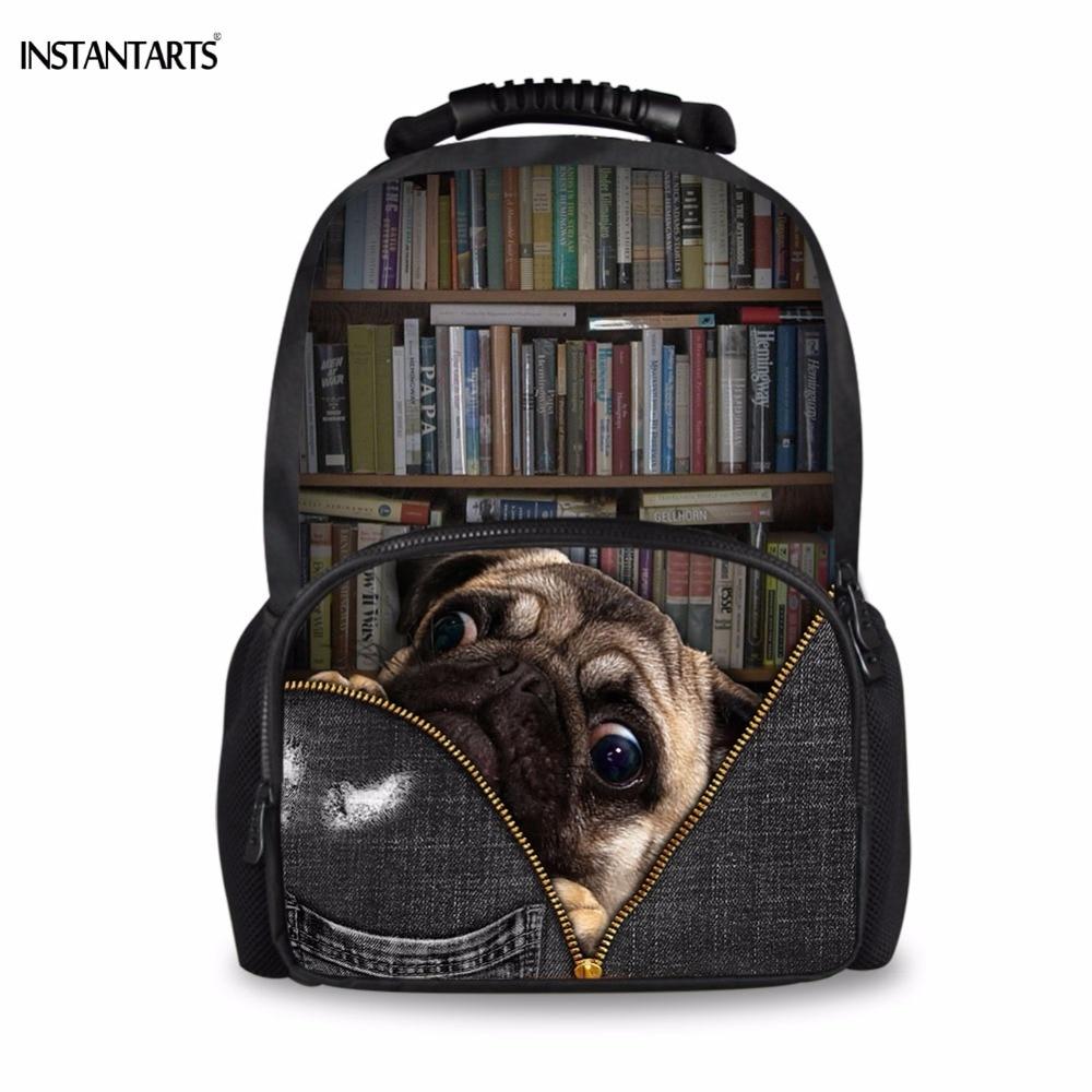 Instantarts Funny Pug Dogcat Love Book Print Backpack Fashion
