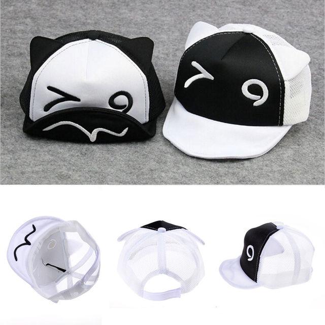 Kawaii Bébé Garçon Casquette de baseball Blanc Noir style de Bande Dessinée  Bébé Avec Bonnet Coton ab42921bd25