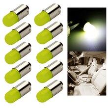 10 Uds calor durable T4W Led BA9S COB 30MA ronda 3D T11 363 1 SMD luz de matrícula de coche bombilla Led lámpara para puerta de auto blanco 12V