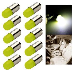 Image 1 - 10 stücke Wärme durable T4W Led BA9S COB 30MA Runde 3D T11 363 1 SMD Auto Lizenz Platte Glühbirne für Auto Tür Lampe Weiß 12V