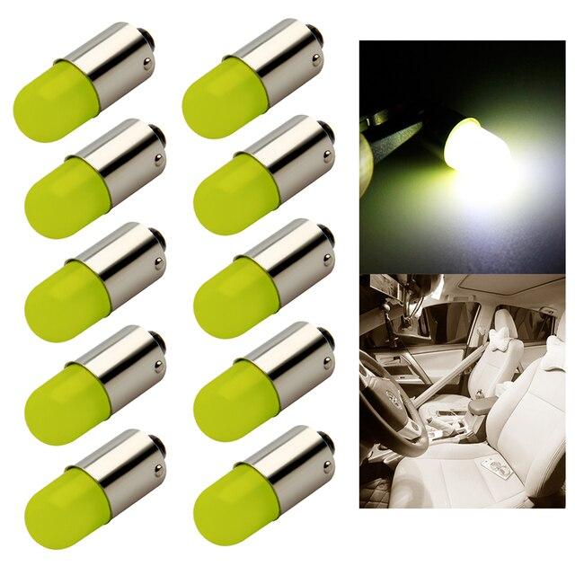 10pcs Heat durable T4W Led BA9S COB 30MA Round 3D T11 363 1 SMD Car License Plate Light Bulb For Car Door Lamp White 12V
