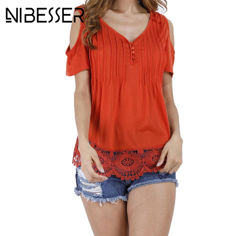 NIBESSER Lace Patchwork T Shirt Women Sexy Off Shoulder Top Short Sleeve White Ladies Summer Hollow Out Pink t-shirt Oversized