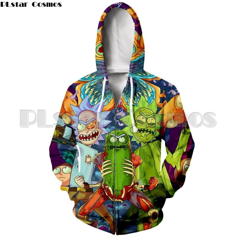 PLstar Cosmos Unisex 3d Rick And Morty Hoodies Zipper Sweatshirts Men/Women Funny Cartoon Rick Zip up Hoodie Autumn Pullovers