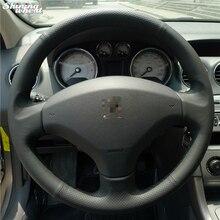 Bannis cobertura de volante em couro preto, costura à mão, capa para volante antigo peugeot 408/peugeot 308
