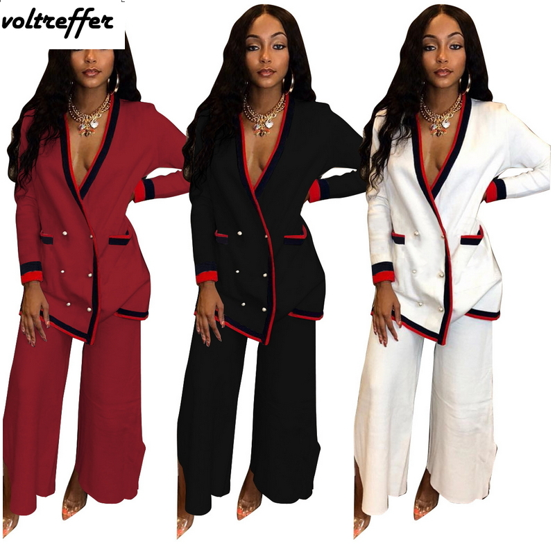2019 New Striped Two Piece Set Loose Cardigan Button Pockets Wide Leg Palazzo Pants Sweat Suit Oversized Casual Outfits Matching
