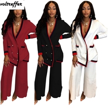 2019 New Striped Two Piece Set Loose Cardigan Button Pockets Wide Leg Palazzo Pants Sweat Suit Oversized Casual Outfits Matching button fly pockets wide pants