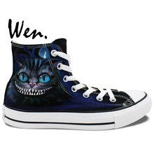 Wen Hand Painted Shoes Unisex Casual Shoes Custom Design Cheshire Cat Men Women's High Top Canvas ShoesBirthday Gifts