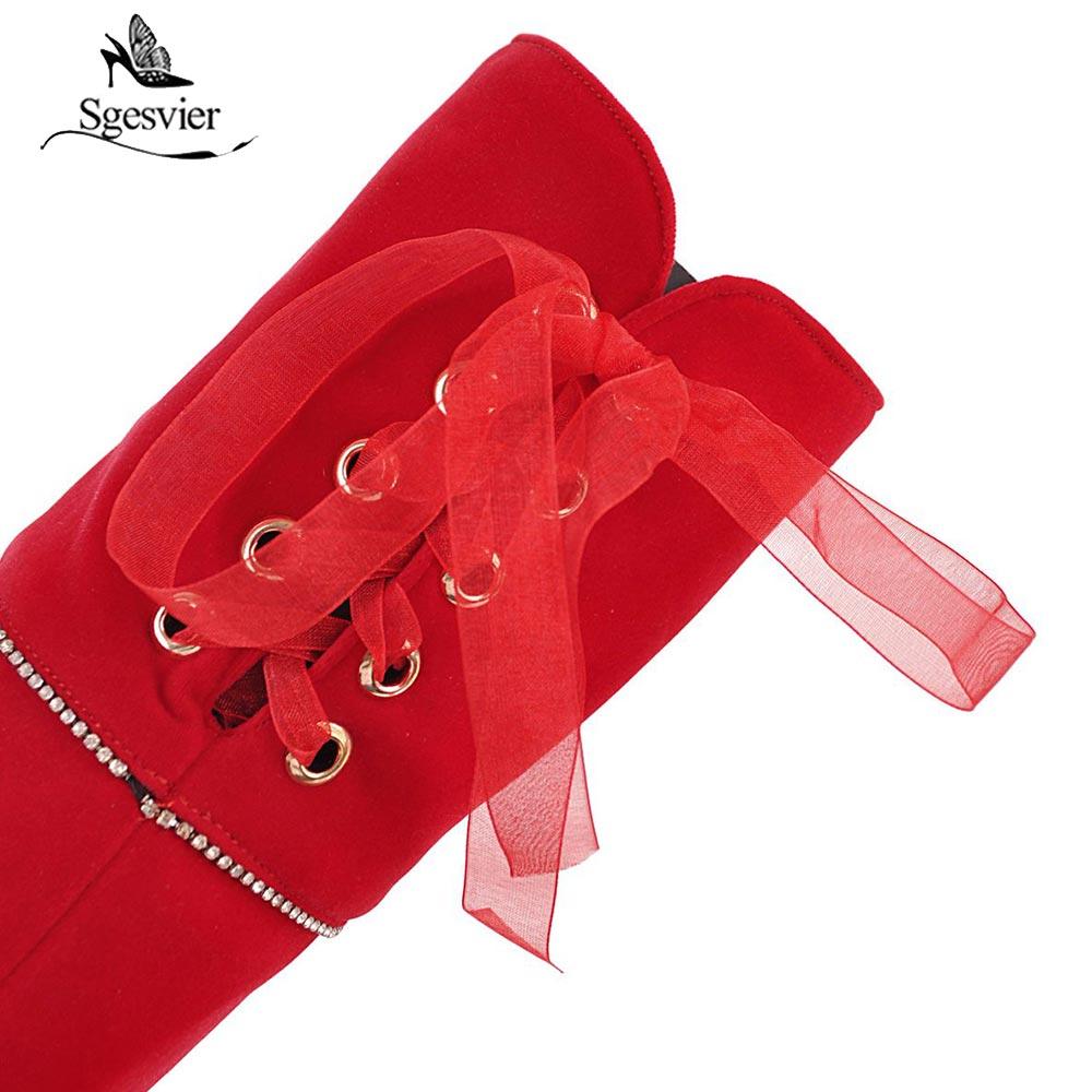 Hauts Noce rouge Le Ox922 Femme Sgesvier 48 Taille Chaussures Zipper Sur Bottes Plate forme Troupeau Genou Mince Talons 34 Noir D'hiver Femmes FIq1O