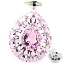 Guaranteed Real 925 Solid Sterling Silver 6.1g Gorgeous Pink Kunzite White CZ Womans Present Pendant 40x29mm