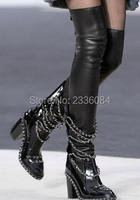 Cool Black Patent Leather Over Knee Thigh High Boots Stretch Material Slim Long Boots Thick High Heels Women Shoes Botas Booties