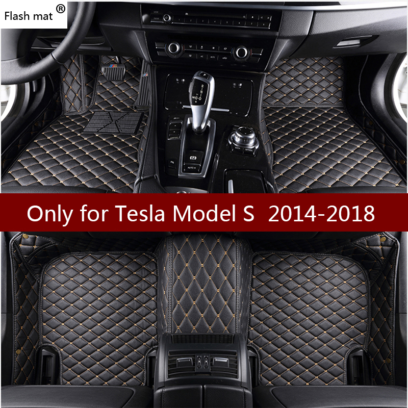 Flash mat leather car floor mats for Tesla Model S 2014 2015 2016 2017 2018 Custom foot Pads automobile carpet car covers(China)