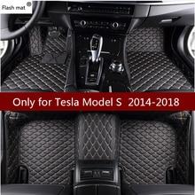 Flash Mat кожаные автомобильные коврики для Tesla модель S пользовательские коврик для ног автомобильный коврик автомобиля чехлы