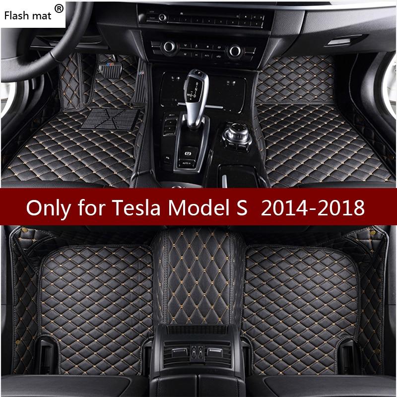 Flash mat de coche de cuero alfombras de piso para Tesla modelo S 2014, 2015, 2016, 2017, 2018 de almohadillas de pie automóvil alfombra cubiertas de coche