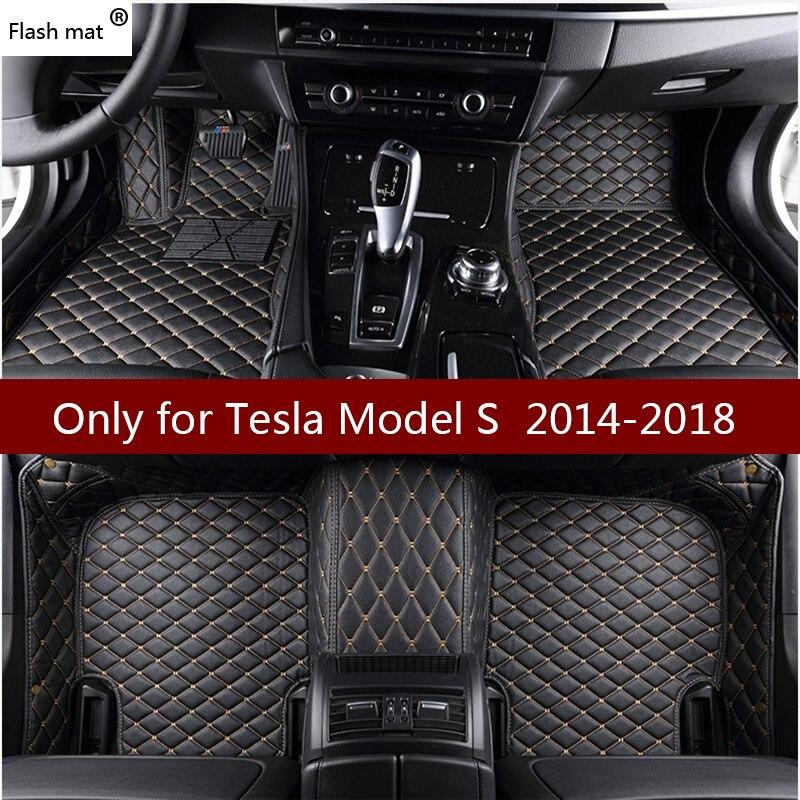Flash tapis en cuir de voiture tapis de sol pour Tesla Model S 2014 2015 2016 2017 2018 Personnalisé pied Tapis automobile tapis de voiture couvre